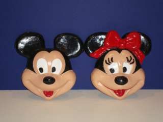 Disney Mickey Minnie Mouse Wall Plaques Vintage Masks