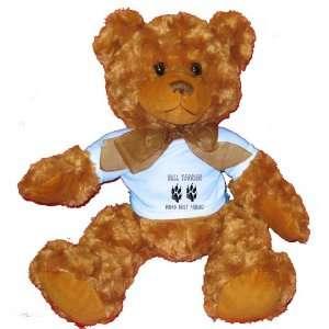 BULL TERRIER MANS BEST FRIEND Plush Teddy Bear with BLUE
