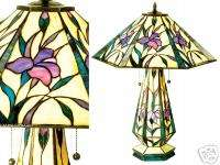 Pink Purple IRIS Tiffany Style Stained Glass Table Lamp