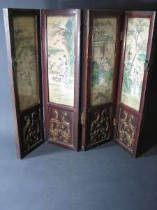 Nice Old Chinese Tabletop Folding Screen Carved Wood Frame And