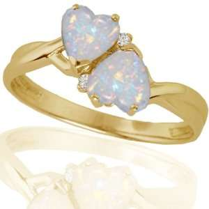 10k Yellow Gold Created Opal and Diamond Heart Ring (.02