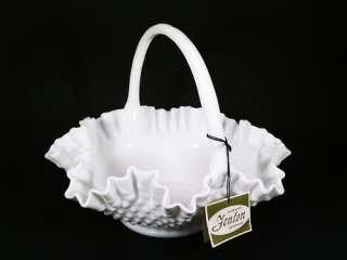 Vintage Fenton Milk Glass Hobnail Basket With Handle