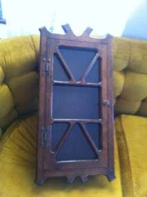 Vintage Wood Wooden Wall Hanging Curio Display Cabinet Shelf