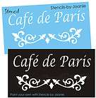 STENCIL Cafe de Paris Shabby Cottage French Chic Fancy Scroll border