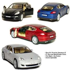Set of 4 5 Porsche Panamera S 140 Scale (Black/Blue/Red