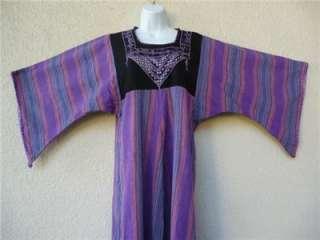 VTG ETHNIC CAFTAN Maxi DRESS Boho Embroidered Hippie Angel Slv Dashiki