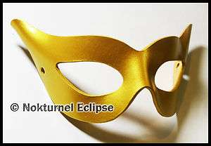 Catwoman Gold Leather Mask Super Hero Halloween Masquerade Mardi Gras