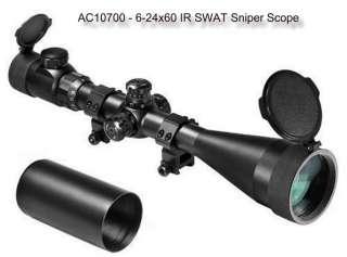Barska SWAT Tactical 6 24X60 IR Rifle Scope w rings & sunshade AC10700
