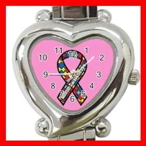 New Autism Awareness Ribbon Heart Italian Charm Wrist Watch