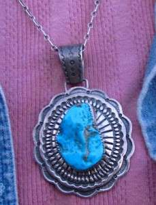 BIG D. REEVES NAVAJO STAMPED STERLING SILVER TURQUOISE PENDANT