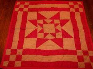 Red Star Hanging Wall Quilt Tea Dyed Table Mat Country