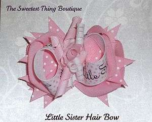 Little Sister Boutique Style Hair Bow Pink & White