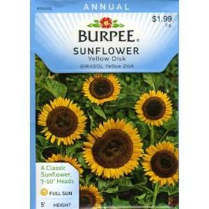 Burpee 38380 Sunflower Yellow Disk Seed Packet Patio, Lawn & Garden