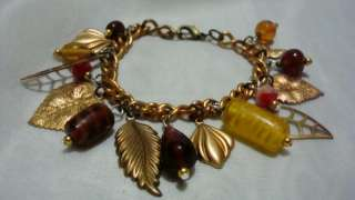 AUTUMN LEAVES Handcrafted METAL charm BRACELET new PICS