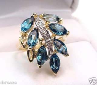LONDON BLUE TOPAZ MARQUISE & DIAMONDS 14K GOLD RING