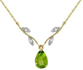 Yellow Gold Natural Peridot Pear Cut Gemstone & Real Diamonds Necklace
