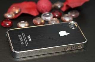 Luxury Black brushed Metal Aluminum/Chrome Hard Case Cover For Iphone
