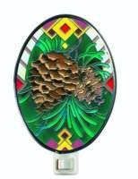 Pine Cone Stained glass Night Light Rustic