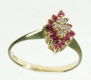 14K SOLID YELLOW GOLD RUBY DIAMOND MULTI GEMSTONE ESTATE RING J195095