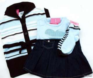 Girls Best Friend 4 Pc Vest Skort Heart Tee Socks Sz 6 NWT