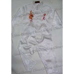 Kids Chinese Dragon Kung Fu Shirt Pants Set White Available Sizes 6M