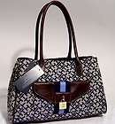 NEW Tommy Hilfiger TH Blue Satchel Handbag Hobo Tote Ba