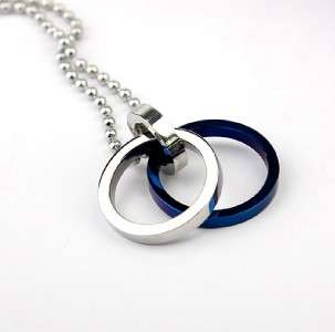 Stainless Steel Two Circle New Pendant Necklace Mens