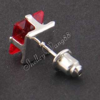 1x Mens Earring Ear Stud Stainless Steel Red Onyx 7mm