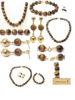 18K Gold Tigers Eye Bead Necklace Bracelet Earring Set