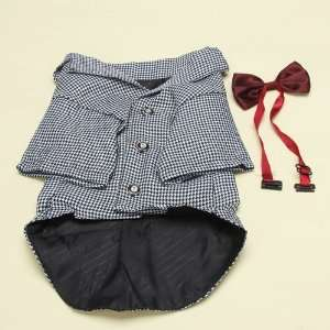 Pet Dog Black and White Check Clothes Apparel Business Suit with