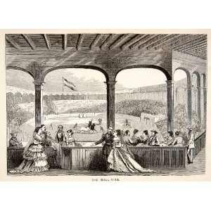 1871 Wood Engraving Cuba Bull Ring Fight Arena Stadium