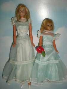 1972 Malibu Barbie & Skipper in Aqua Gowns #9151