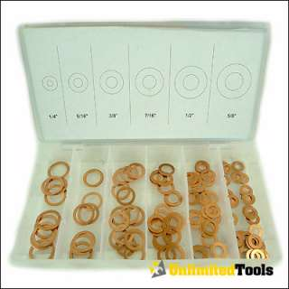 110 PC. COPPER WASHER ASSORTMENT SET CASE TOOL NEW
