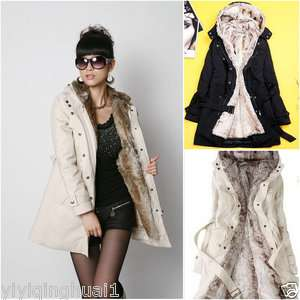 2011 New Womens Warm Hooded Faux Fur Winter Long Coat 2 color 5 size
