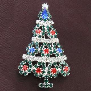 Multi Colors Christmas Tree Brooch Pin Color Stone Crystals Costume