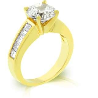 CARAT CZ WEDDING ENGAGEMENT RING Sz 5,6,7,8,9,10 ROUND CUT GOLD EP