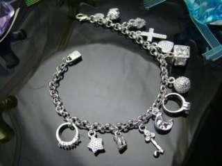 Hot 13 Charms Drop Bracelet, 925 Sterling Silver