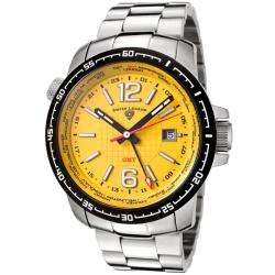 Swiss Legend Mens World Timer Yellow Dial Stainless Steel GMT Watch