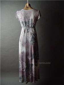 TATTOO Print Low Cut Empire Waist Long Maxi fp Dress S