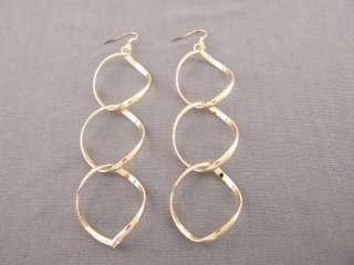 shiny gold tone lightweight linked hoop dangle earrings 4.5 long big