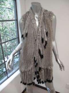 Hippie Gray/Black Tip Rabbit Fur Sleeveless Long Vest XS/S $795