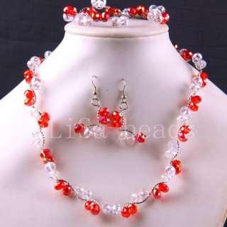 Swarovski Crystal bead Necklace Bracelet Earrings LE444