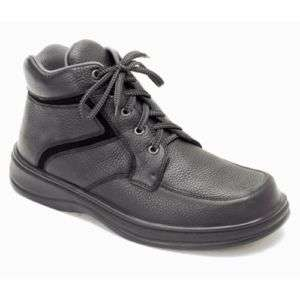 Orthofeet Mens Black Leather Orthopedic Lace Boots