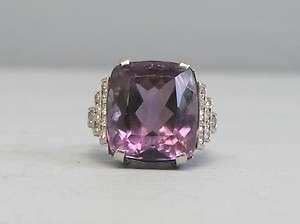 Antique Art Deco Platinum Diamond Amethyst Ring Size 7 1/4