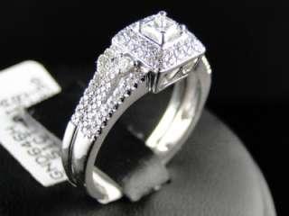 14K WHITE GOLD DIAMOND PRINCESS CUT ENGAGEMENT WEDDING RING BAND