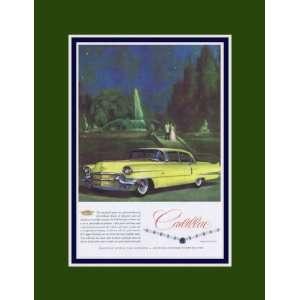 1956 Cadillac Sedan Yellow Fountain Couple Vintage Ad
