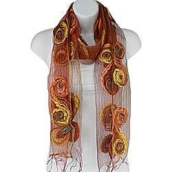 Hand spun Swirls Orange Silk Scarf (India)
