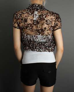 Animal Leopard Print Lace Bolero Shrug Crop Top Jacket