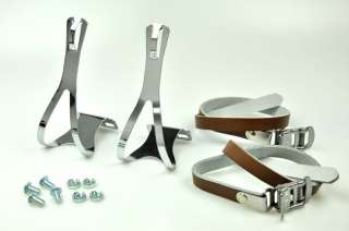 BIKE PEDAL STEEL TOE CLIPS & LEATHER STRAPS Set  Brown