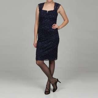 Marina Womens Beaded Stretch Lace Tiered Dress